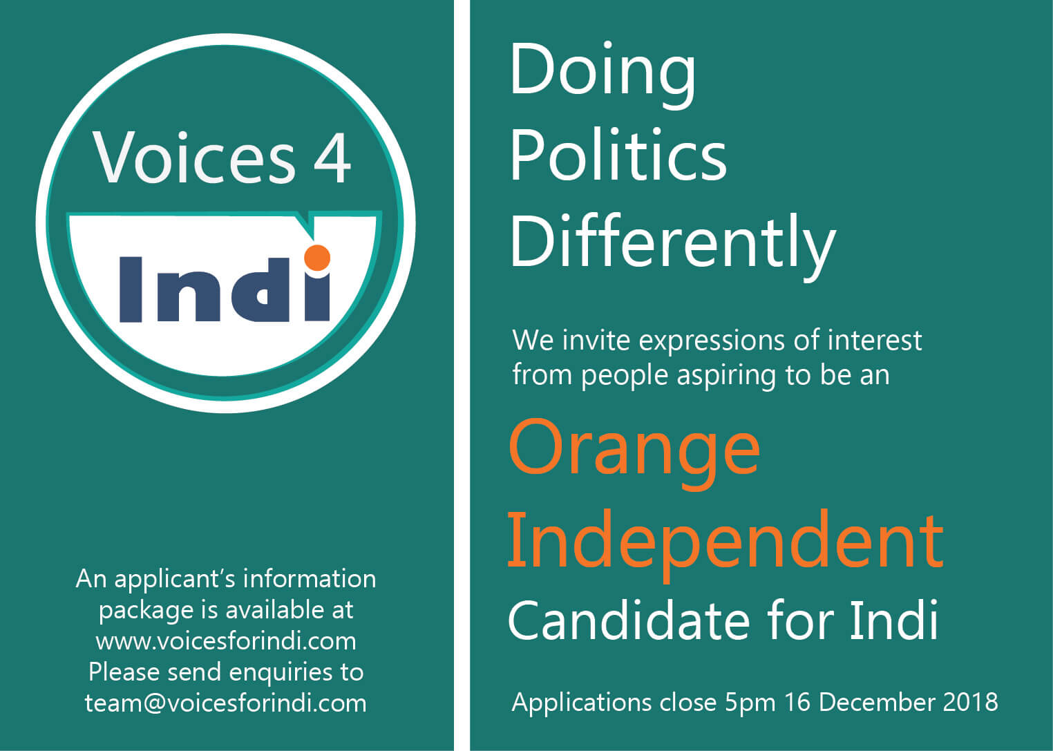 Be an Orange Independent!